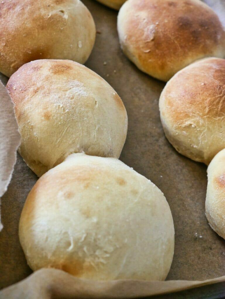 brioche buns after baking