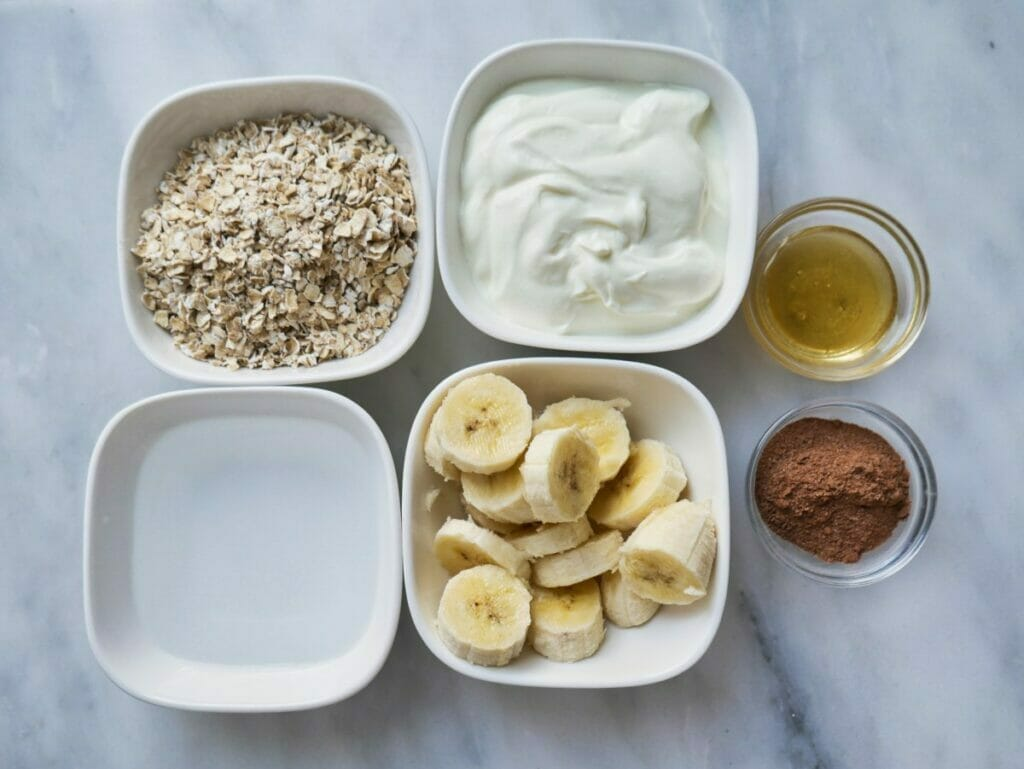 cocoa and banana overnight oats ingredients